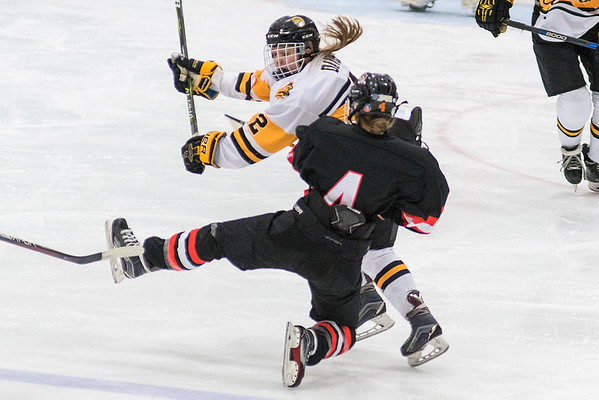 Madison East's Madison Davis collides with Marshall's Emelia Barker during Saturday's game played at All Seasons Arena. The back and forth game finished in a 3-3 draw. Photo by Jackson Forderer