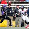Valdosta State's Seantavious Jones pulls in a pass ahead of Minnesota State, Mankato's Patrick Schmidt during the first half of their NCAA Division II semifinal game Saturday at Blakeslee Stadium.