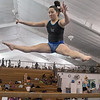 Jude Frelich jumps on the balance beam during practice at K&G Gymnastics on Thursday. Frelich, a junior from Madelia, will be competing with the Mankato East team for the first time this year. Photo by Jackson Forderer