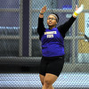 Minnesota State's Morgan Stampley competes in the weight throw during Saturday's Ted Nelson Open track and field meet at Myers Field House. Stampley claimed first place in the weight throw with a winning throw of 15.41 meters.