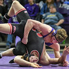 Daniel Close of Minnesota State scores a two-point takedown against his opponent Larry Bomstad of St. Cloud State. Close upset the number one ranked Bomstad with a 10-2 major decision in the 157-pound division. The Mavericks lost a close match to the Huskies 19-13. Photo by Jackson Forderer