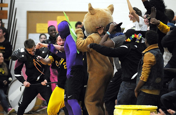 Mankato East fans do the Harlem Shake before the boys basketball game Tuesday.