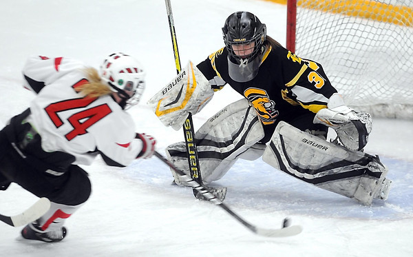 Mound Westonka/Watertown-Mayer's Mackenzie Kratch shoots the puck at Mankato East/Loyola goalie Katie Paulson during the first period of their Section 2A championship game Thursday at Don Roberts Ice Rink. Kratch scored on the play.