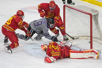Minnesota State's Brad McClure puts in the go-ahead goal against Ferris State in the third period of Saturday's game played at the Verizon Center. C.J. Seuss added another goal later to seal the 4-2 win. Photo by Jackson Forderer