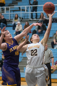 Gustavus' Ava Gonsorowski (22) puts up a layup past St. Catherine's Jackie Radford in the second half of Tuesday's MIAC Conference game. The Gusties are now in third place in the MIAC conference behind St. Thomas and St. Benedict. Photo by Jackson Forderer