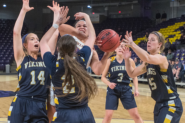 Minnesota State's Tayla Stuttley struggles to get a shot off while surrounded by four Augustana defenders in the second half of Friday's NSIC conference game. Photo by Jackson Forderer