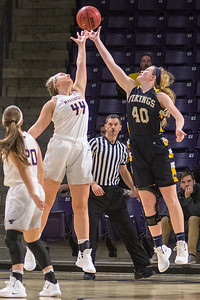 Minnesota State's Mikayla Nachazel (44) and Augustana's Shelby Selland (40) go after a tipped ball in the air in the second half of Friday's game. MSU fell to the Vikings 77-69. Photo by Jackson Forderer