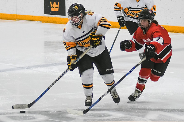Mankato East/Loyola's Bri Adams carries the puck through center ice while being pursued by Mankato West's Caitlin Hvinden. Photo by Jackson Forderer