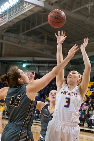 Minnesota State's Monica Muth goes up for a jump shot against Southwest Minnesota State's Taylor Holicky in the second half of the NSIC conference game played at Bresnan Arena on Friday. Photo by Jackson Forderer