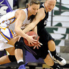 Minnesota State's Anna Leloux steals the ball from University of Sioux Falls' Mikenna Greathouse during the first half Friday at Bresnan Arena.