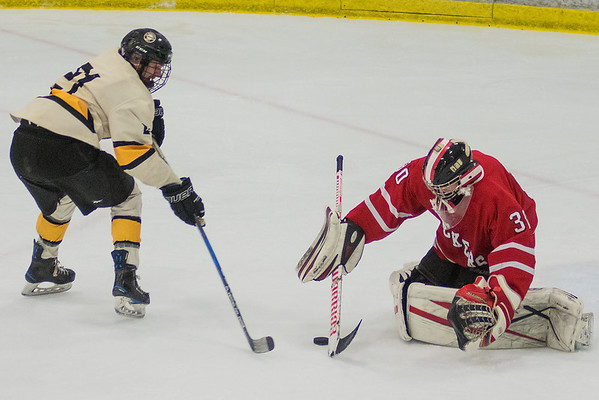 Mankato East's Garrett Rabenhorst (left) goes after a loose puck during a break away against Austin goalie Ryan Flanders. Photo by Jackson Forderer