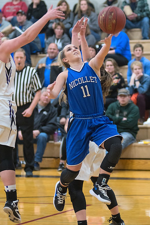 Nicollet/Loyola's Grace Dehen goes in for an uncontested layup during the Raiders Section 2A playoff game against Grenada-Huntley-East Chain/Truman/Martin Luther on Tuesday. Nicollet/Loyola won 62-49 to advance in the tournament. Photo by Jackson Forderer