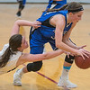 Nicollet/Loyola's Brooke Skrien (right) grabs a loose ball away from Grenada-Huntley-East Chain/Truman/Martin Luther's Macy Quinn in the second half of Tuesday's Section 2A playoff game. Photo by Jackson Forderer