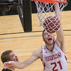 Bethany Lutheran's Treton Krueger lets out a yell while dunking the ball in the Vikings home game against the University of Minnesota-Morris on Wednesday. The Vikings routed the Cougars 112-69 in the UMAC postseason tournament. Photo by Jackson Forderer