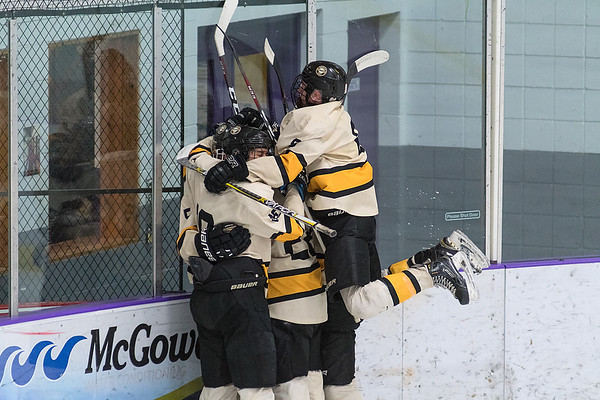 Mankato East/Loyola's Brett Borchardt (right) jumps in the celebration with other teammates after one of the Cougars' eight goals scored against Winona on Thursday evening. Photo by Jackson Forderer