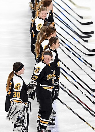 Mankato East/Loyola girls hockey v. St. Paul United pregame