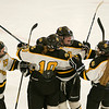 Camryn Sternberg (center) celebrates one of her three goals against Marshall on Tuesday. The Cougars advanced to the state tournament with a 4-2 victory in Redwood Falls. Photo by Jackson Forderer