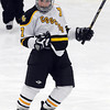 Mankato East/Loyola's Katy Snyder celebrates a first period goal against St. Peter/Le Sueur-Henderson/Tri City United during their Section 2A playoff game Thursday at All Seasons Arena.