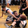 St. Peter's Braxton Raymond keeps the ball away from Waseca's Nick Dufault after grabbing a loose ball during the first half Thursday in St. Peter.