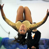 John Cross<br /> Mankato East's Meghan Dauk competes in the floor exercise at the Big Nine Conference gymnastics meet on Saturday.