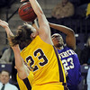 John Cross<br /> Minnesota, Crookston's Laurie Tyson attempts to block MSU's Jameila Hudnell's shot during first period action at Bresnan Arena on Saturday.