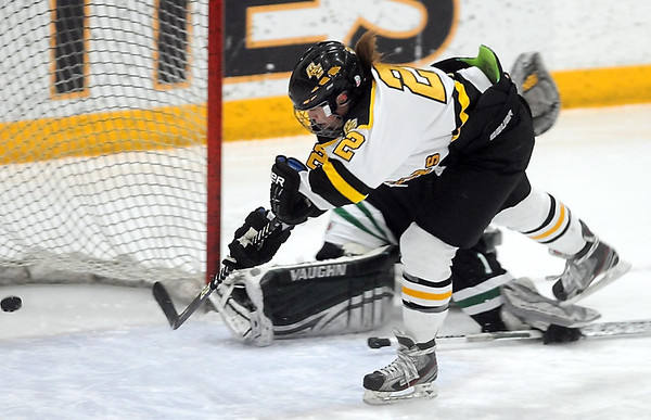 Pat Christman<br /> Mankato East/Loyola's Rebekah Kolstad slips the puck into the net for a goal during the first period of their Section 2A championship game against Litchfield-Dassel-Cokato Thursday at Gustavus Adolphus College in St. Peter.