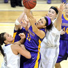 Pat Christman<br /> Minnesota State's Tyra Johnson fights for a rebound during the second half against the University of Sioux Falls Saturday at Bresnan Arena.