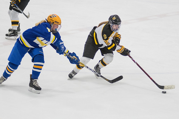 Mankato East/Loyola's Madison Davis (right) skates by Windom Area's Ellyson Bang in Thursday's section playoff game played at All Seasons Arena. Davis had one assist in the Cougars overtime 3-2 win. Photo by Jackson Forderer