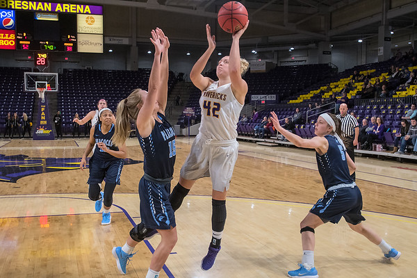 Minnesota State's Brooke Tonsfeldt takes a jump shot against Upper Iowa's Casey Miles in the second half of the Mavericks 68-43 win on Friday. Photo by Jackson Forderer