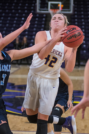 Minnesota State's Brooke Tonsfeldt gets fouled on the way to the basket in the Mavericks game against Upper Iowa on Friday. Photo by Jackson Forderer