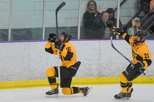 Mankato East's Sam Schulz (left) and Garrett Rabenhorst celebrate after Schulz's game-winning overtime goal against Mankato West on Saturday at All Seasons Arena. East won the game 2-1. Photo by Jackson Forderer