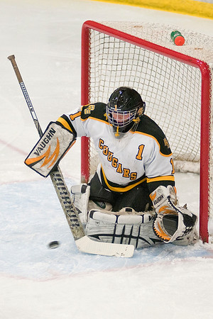 Mankato East's Andrea Schreiber makes a save in the Section 3A tournament game against Mankato West. Schreiber shut out the Scarlets in the Cougars 8-0 win. Photo by Jackson Forderer