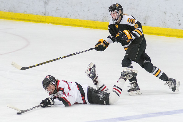 Mankato West's Lindsey Hays dives to keep the puck in the offensive zone while being defended by Mankato East's Hannah Rigdon as West fought back to tie the game at 2-2 in the second period. The Cougars spoiled the Scarlets comeback and won the game. Photo by Jackson Forderer