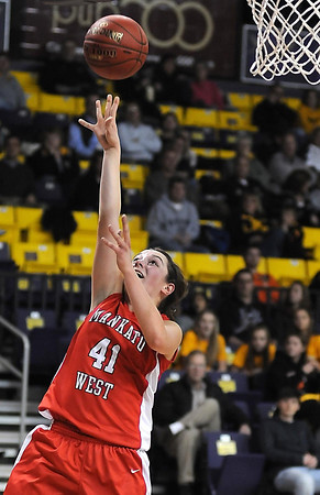 West's Cara Christiansen puts up an uncontested lay-up.