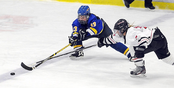 Waseca's Abbe Hoehn keeps the puck in the zone despite the efforts of Mankato West's Callie Looft during the first period Thursday at All Seasons Arena.