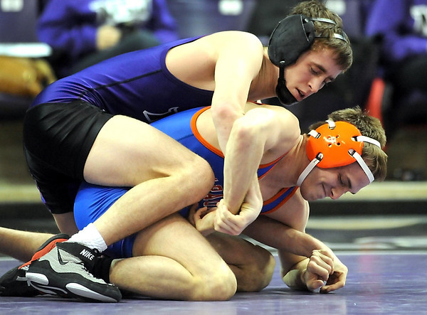 Minnesota State's David Demo gets the upper hand on University of Mary's Jordan Eckholm during their 125-pound match Friday at Bresnan Arena.