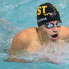 Mankato East's Matthew Wedzina does the breast stroke in the 200 meter individual medley in the Cougars home meet against Albert Lea on Thursday. Photo by Jackson Forderer
