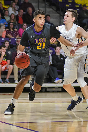 Minnesota State's Cameron Kirksey (21) drives the baseline during the Mavericks home game against Augustana on Dec. 2, 2017. Photo by Jackson Forderer