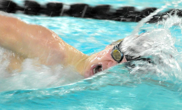 Pat Christman<br /> Mankato West's Tanner Sonnek swims in the 200 yard freestyle race during a meet against Mankato East Thursday at the East pool.