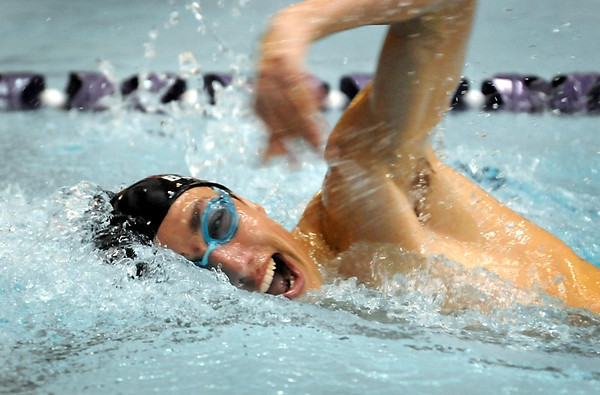 Mankato West's Jake Bjork competes in the 200 freestyle during a meet against Rochester Mayo Tuesday at the MSU pool.