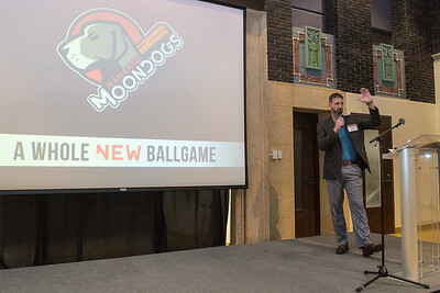 Mankato MoonDogs head coach Ryan Kragh speaks to an audience at the Verizon Center after the the team's new logo was revealed on Thursday. Photo by Jackson Forderer