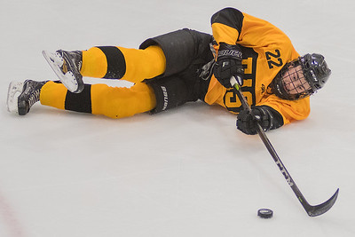 Mankato East's Layten Liffrig continues to play the puck after the falling to the ice during Tuesday's game against Albert Lea. Photo by Jackson Forderer