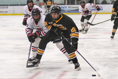 Mankato East/Loyola's Layten Liffrig (right) eyes a shot on net as Mankato West's Wyant Fowlds plays defense on his hip. Photo by Jackson Forderer