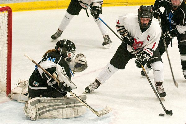 Mankato West's Courtney Bloemke skates in front of Bulldogs goalie Jordan Keeley before scoring her third goal of the game. The Scarlets beat the Bulldogs 5-4 on Thursday at All Seasons Arena. Photo by Jackson Forderer