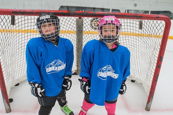 Zoey and Mia Hettig, twin sisters, attended the Try Hockey for Free event held at Gustavus' hockey rink on Tuesday. The girls had skated before and were content to push others around on chairs across the ice. Photo by Jackson Forderer