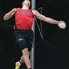 Mitch Weber of St. Clair throws in the discus competition at the Class A state track meet held in St. Paul. Weber took second place in the event. Photo by Jackson Forderer