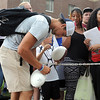 Pat Christman<br /> Former Minnesota State wide receiver Adam Thielen signs autographs outside Julia Sears residence hall after arriving for the Minnesota Vikings training camp Thursday.