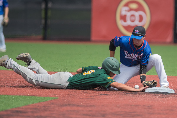 Mankato National's Tom Yokel mishandles the ball at second base during a pick off attempt on Jordan's Noah Schmitt in Friday's Sub-state playoff game. Jordan won the game 4-2 to stay in the winner's bracket. Photo by Jackson Forderer