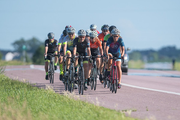 A group of bike riders ride along Highway 13 north of North Mankato on Tuesday. The group of riders meets every Tuesday and begins their ride at Nicollet Bike Shop. Photo by Jackson Forderer