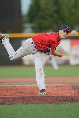 Mankato American's Travis Noren delivers a pitch to a Worthington batter in Wednesday's Legion game played at Franklin Rogers Park. Noren gave up only one hit in the first five innings of play. Photo by Jackson Forderer
